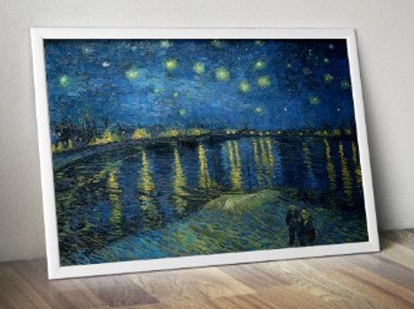 Van Gogh Noite Estrelada sobre o Ródano, Starry Night Over the Rhône, poster, gravura, reprodução, canvas, replica, releitura