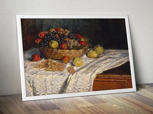 monet, Maçãs e Uvas, natureza morta, quadro, poster, gravura, canvas, replica, reprodução, fototela,tela,pintura