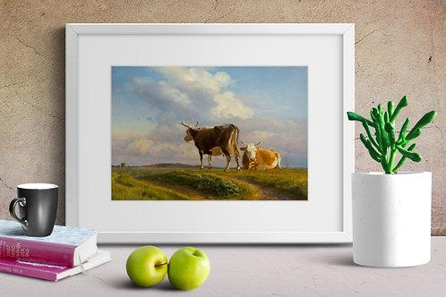 Johan Lundbye, Duas Vacas em um Campo Aberto,quadro, poster, replica, canvas, gravura, reprodução, tela, releitura, fototela