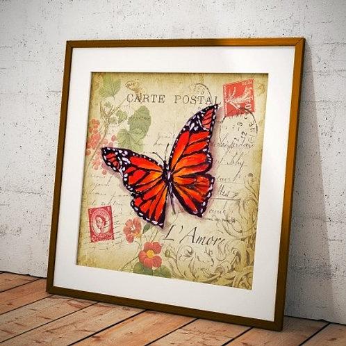 Quadro borboleta, poster borboleta, gravura borboleta, borboleta, tela decorativa, quadro, poster, gravura, canvas, replica