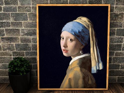 Johannes Vermeer, Moça com Brinco de Pérola, quadro, poster, replica, gravura, reprodução, canvas, fototela, cópia, foto tela