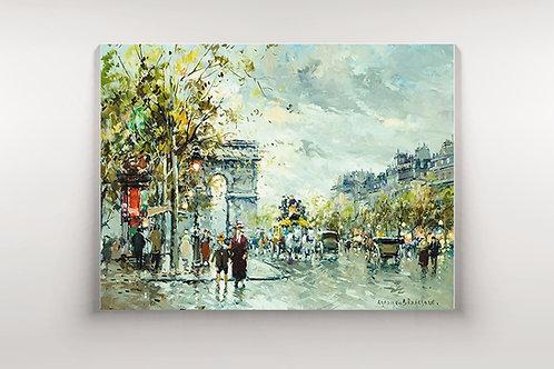 quadro de paris, antoine blanchard, Arco do Triunfo,cidade, paris, quadro, poster, replica, gravura, reprodução, canvas, tela