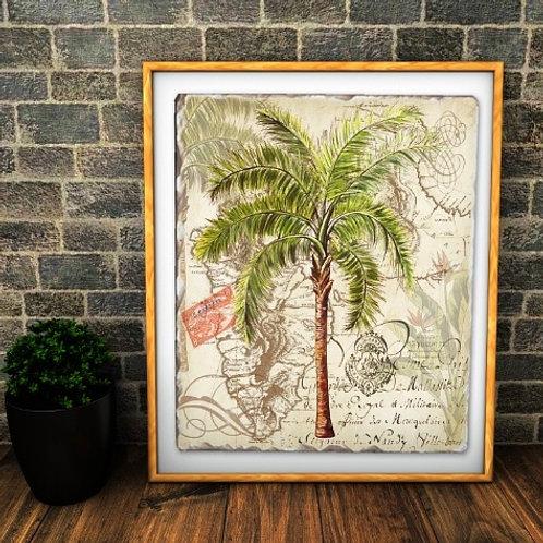 palmeira, árvore, tropical, palmeira tropical, tela decorativa, quadro, poster, gravura, reprodução, canvas, replica