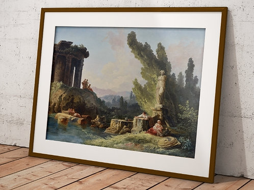 Hubert Robert, A Woman Fishing and Other Figure,quadro,canvas,poster,replica,gravura,reprodução,fototela,tela,pintura