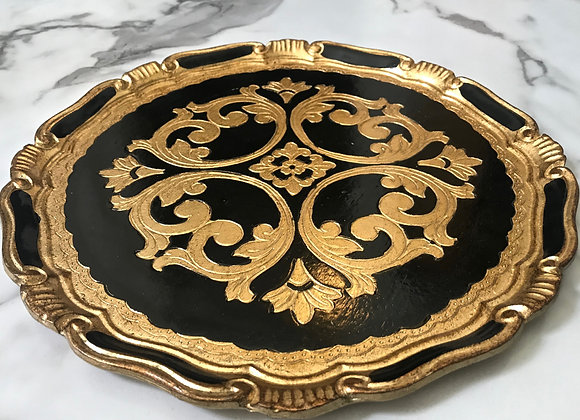 Charger, Ornate Wood Black/Gold