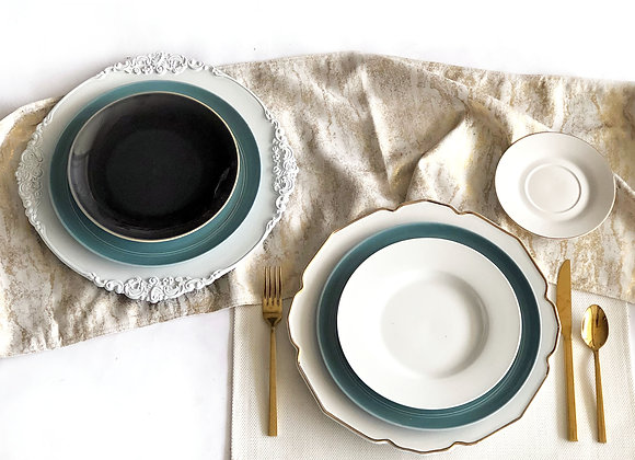 Deep Teal, White, Gold, Place Settings
