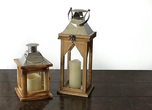 Lanterns, Wood/Silver Plain