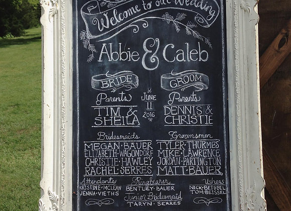 Large, White, Ornate Chalkboard