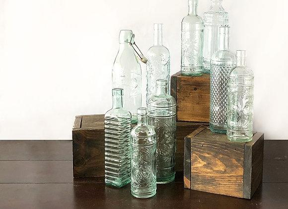 Large Bud Vases, Teal Glass