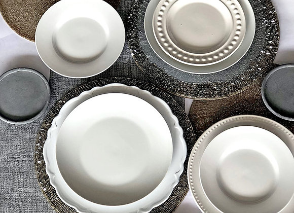 White, Silver, Gray Place Settings