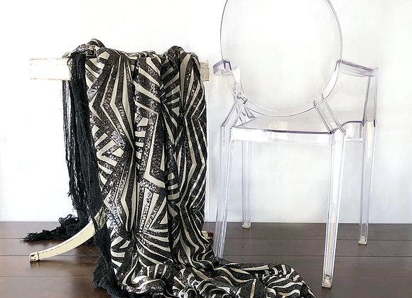 Black Geometric Sequin Linen