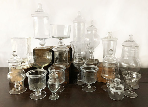 Clear Glass Apothecary Containers
