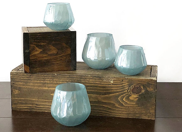 Glass Candle Holders, Sky Blue Lustre