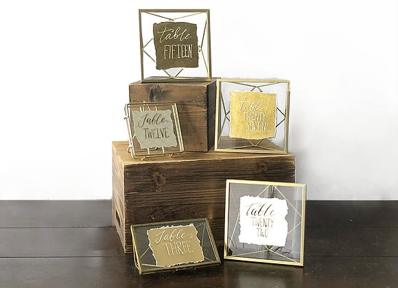 Table Numbers, Gold Geometric, Customizable