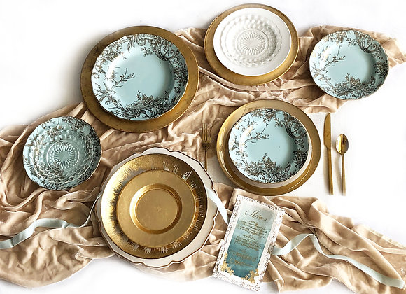 Teal/Blue/Gold Place Settings