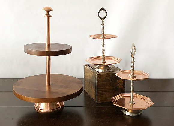 Copper tiered stands