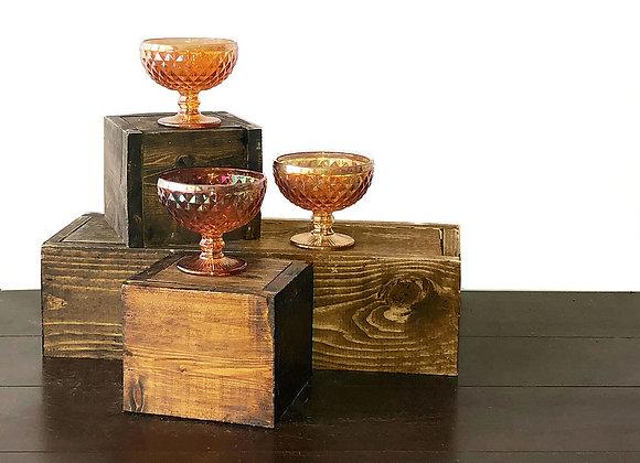Copper colored Lustre, Glass Compotes