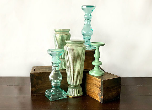 Teal/Mint Pillar Candle Stands