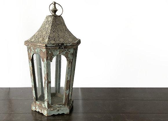 Lantern, Rustic Grey/Blue, Silver