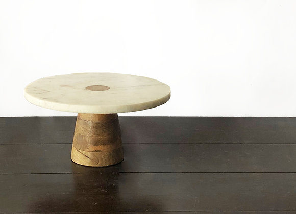 Marble/Wood Cake Stand