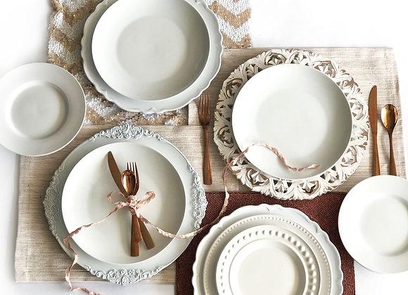 White, Blush, Copper Place Settings