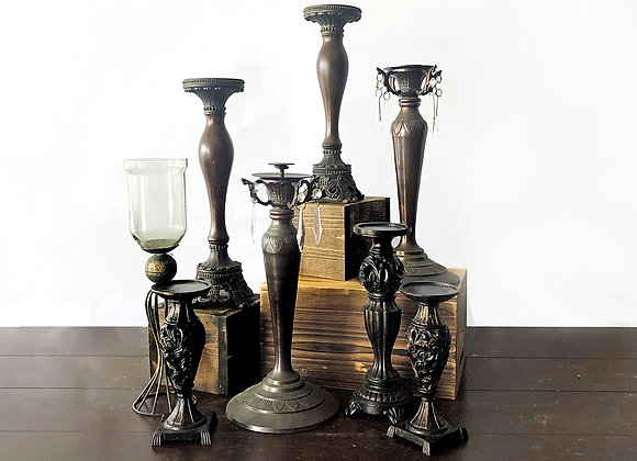 Candle Stands, Black/Brown Ornate