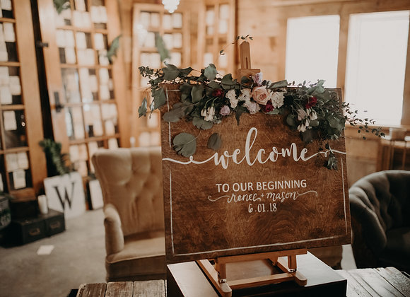 "Sign: ""welcome to our beginning"