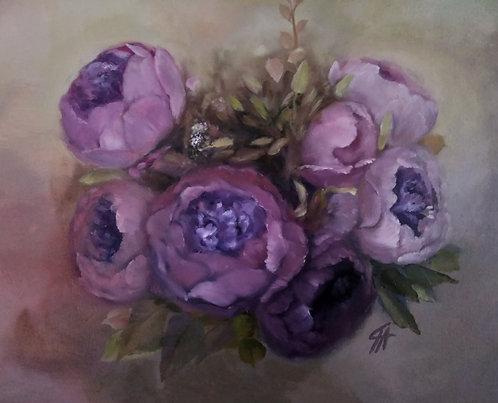 ''Purple Peonies'' Print