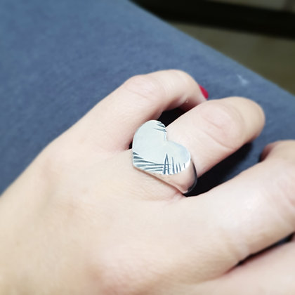 טבעת חותם לב גדול