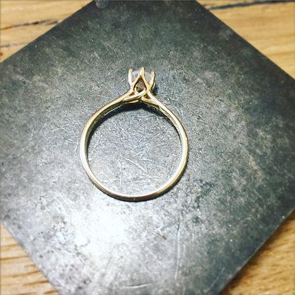 טבעת סוליטר יהלום גולמי