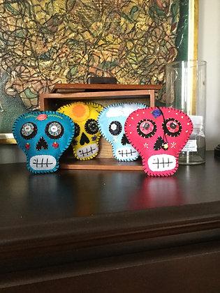 Day of the dead style felt skulls
