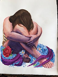 [Image description: An image of a painting of a long haired figure sitting in a bed of flowers. Their is down, in their knees.]