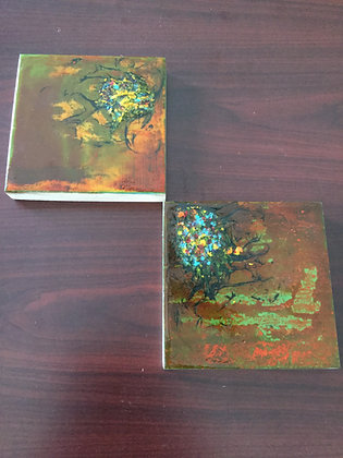 Pair of pour paint style abstract paintings