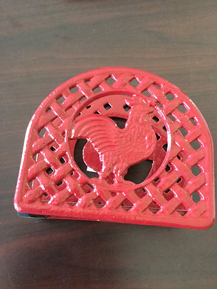 Cast iron red rooster-napkin holder