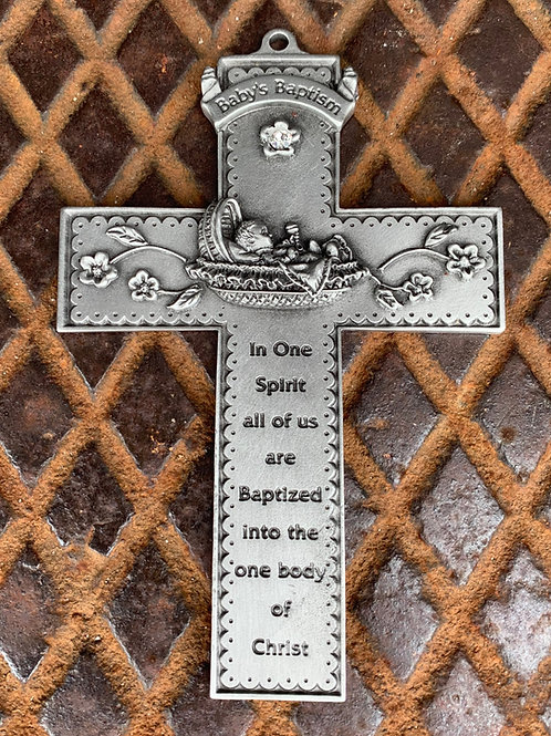 "5"" Pewter Infant Baptism Cross"