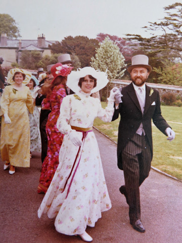1974. Dancing through the old Vicarage Gardens in Cross Street.