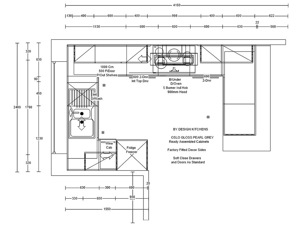 the floor plan for the new kitchen