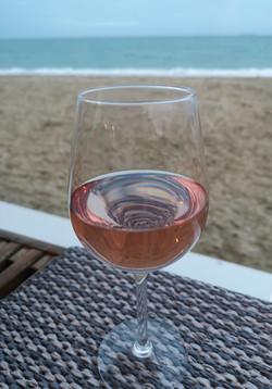 A glass of Rose on Gylly beach! - Karen.