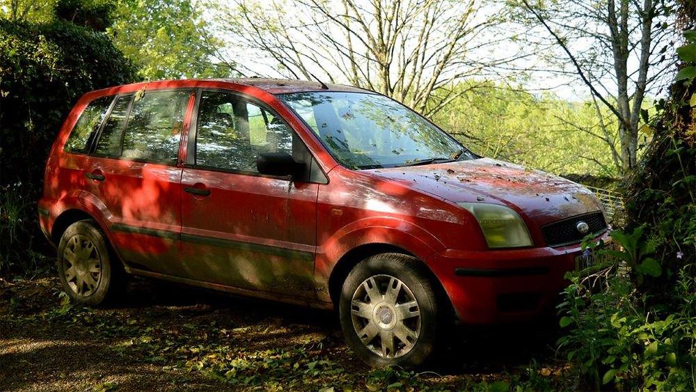 Red derelict car