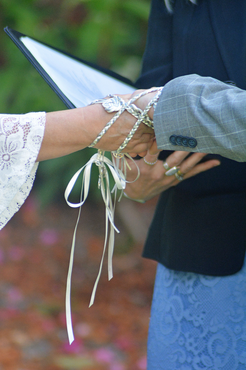 a Druid ceremony, jumping the broom and binding the hands.