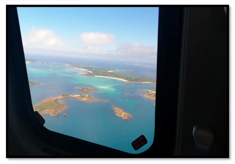 The views were spectacular from above the Scillies