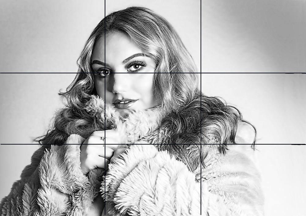 Lauren Jayne Beel with a rule of thirds grid overlay