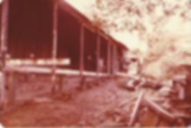An old photograph of Sonoma Mountain Zen Center zendo under construction