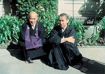 Suzuki Roshi with Kwong Roshi