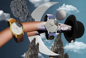 Relógios com print surrealista