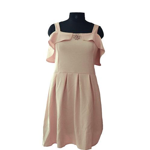 Light Yellow Off Shoulder Knee length Dress
