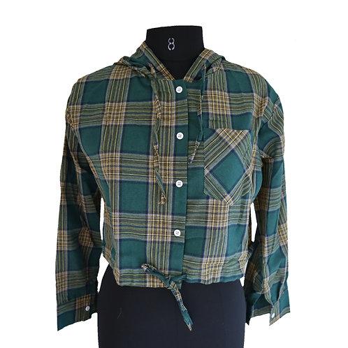 Check hooded full sleeve crop shirt