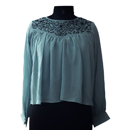 Teal Embroidered Full Sleeve Top