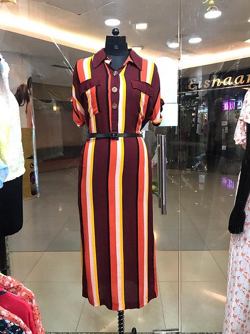 Midi full dress with belt