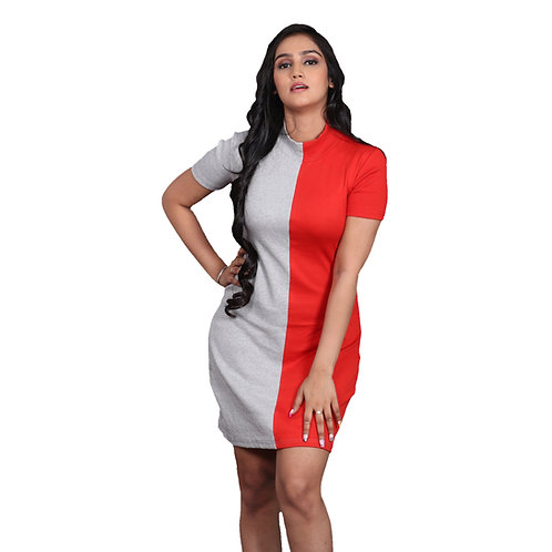 Solid high neck bodycon dress